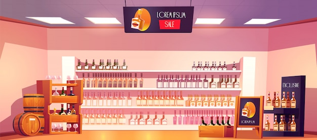 Alcohol shop with bottles on shelves and barrels Free Vector