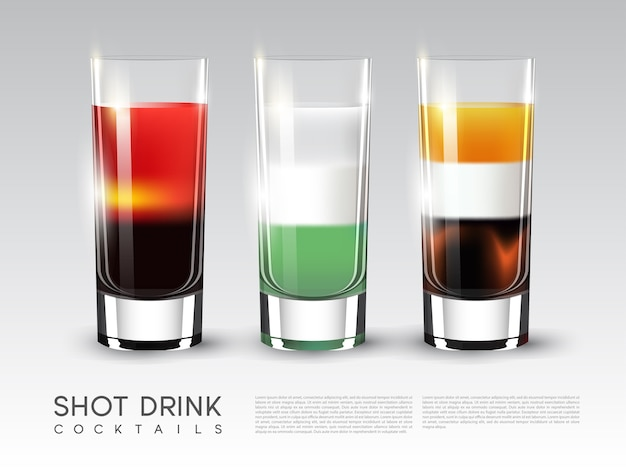 Alcohol shot drink glasses template with different proportions of ingredients in realistic style isolated Free Vector