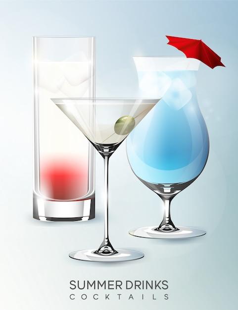 分離されたリアルなスタイルのさまざまな種類のカクテルとアルコール夏の飲料グラステンプレート 無料ベクター
