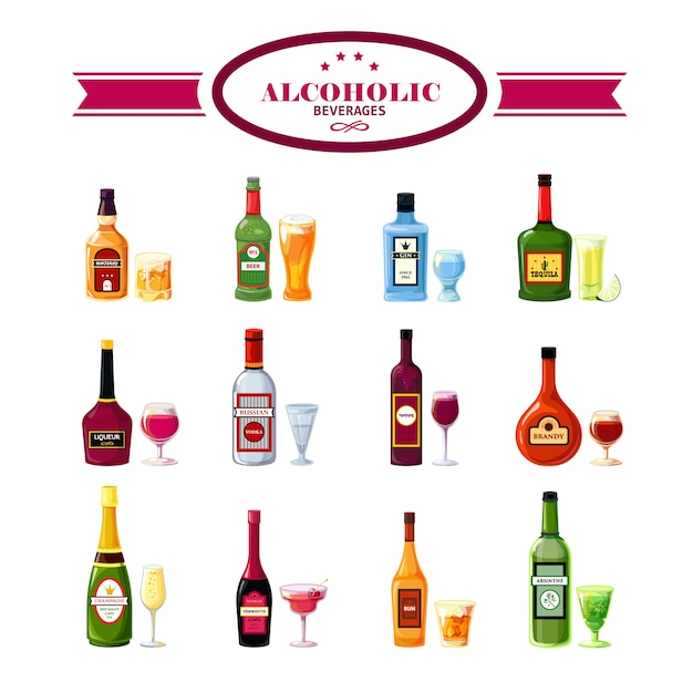 Alcoholic beverages drinks flat icons set Free Vector