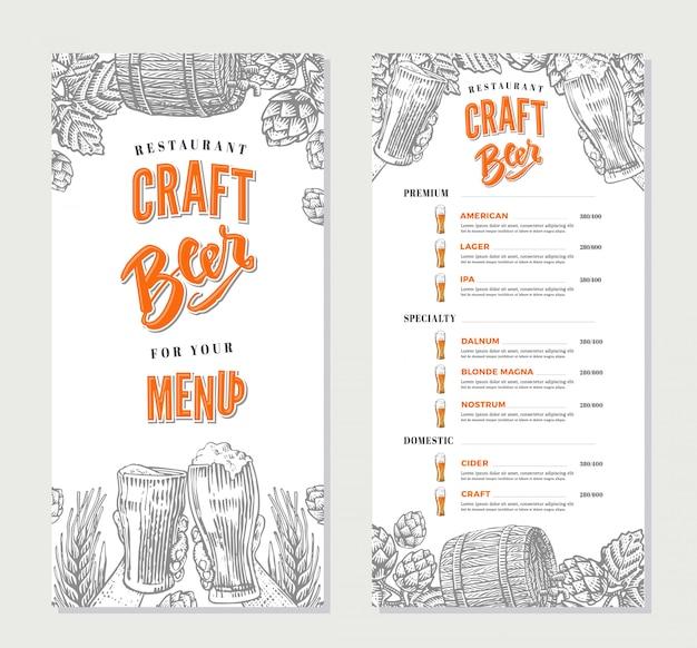 Modello di menu del ristorante di bevande alcoliche Vettore gratuito