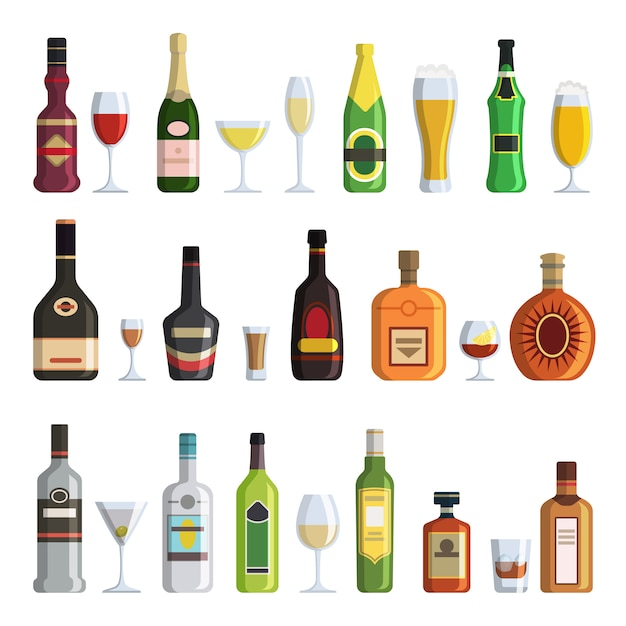 Alcoholic bottles and glasses in cartoon style Premium Vector
