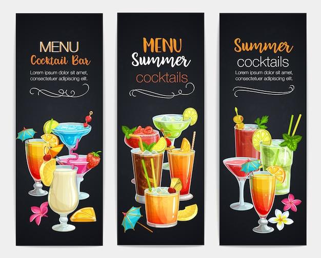 Баннеры алкогольных коктейлей. летние пляжные алкогольные напитки. лонг-айленд, кровавая мэри, маргарита, май тай, пина колада, голубая лагуна Premium векторы
