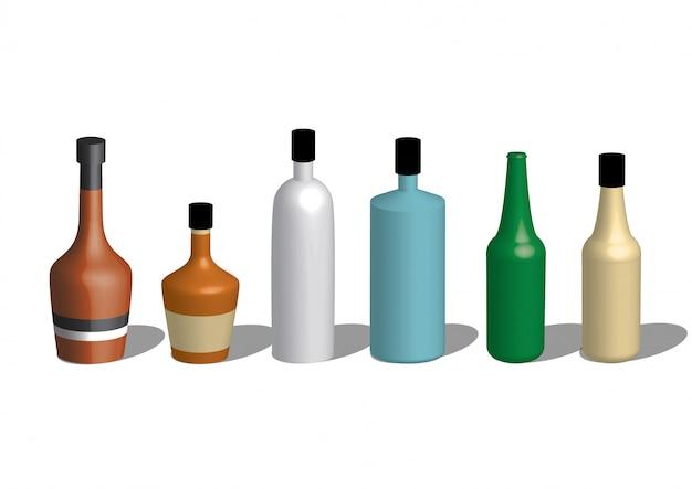 Alcoholic icons detailed photo realistic vector set Premium Vector