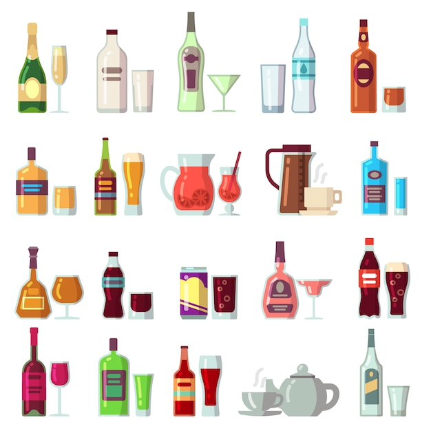 Alcoholic and soft drinks. beverages in glass and bottles Premium Vector