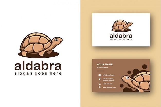 Aldabra черепаха логотип и шаблон визитной карточки Premium векторы