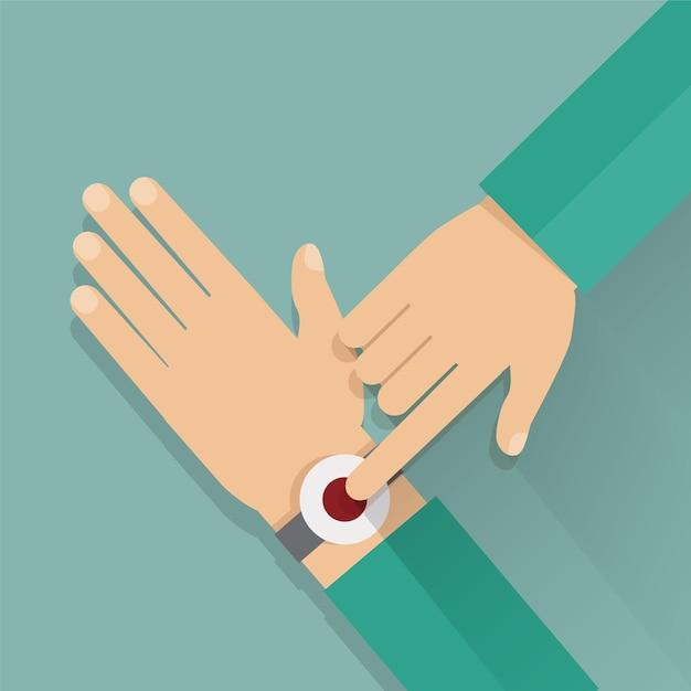 Alert button on the wrist. Premium Vector
