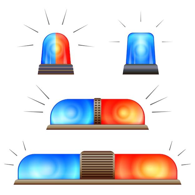 Alert flasher icon set Premium Vector