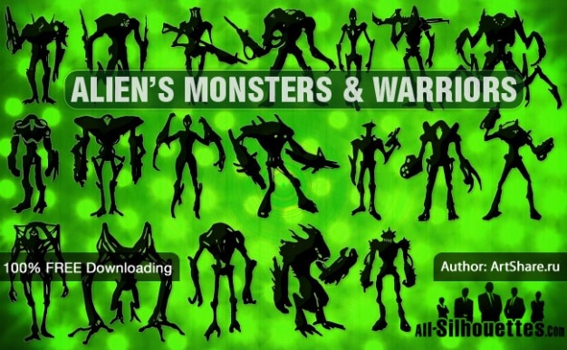Alien's monsters & warriors | All\ Silhouettes