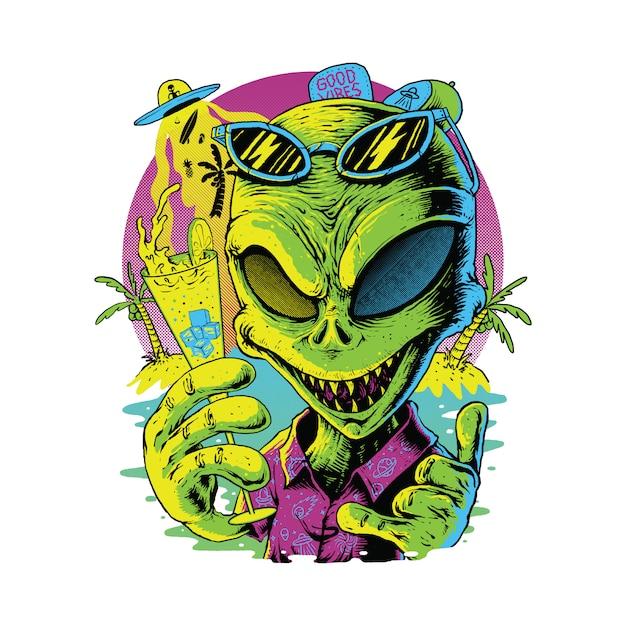 Alien at summer, дизайн футболки Premium векторы