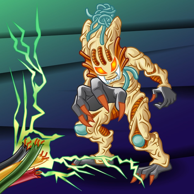 Alien character and wire. Premium Vector