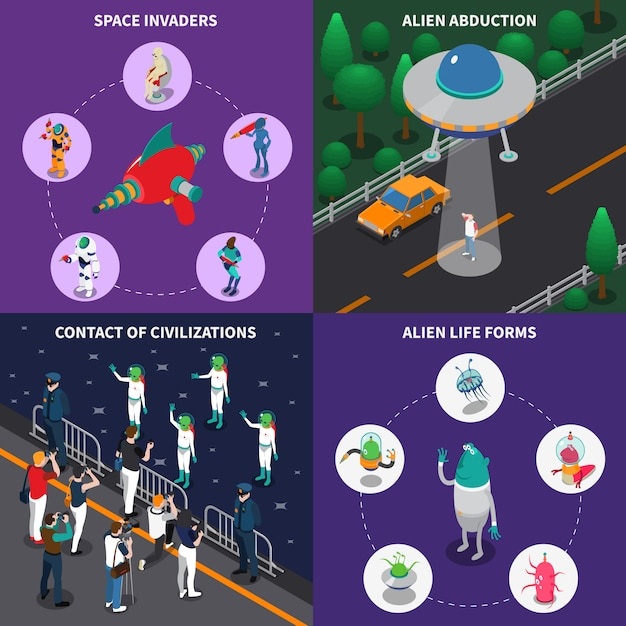 Alien characters 2x2 isometric set Free Vector