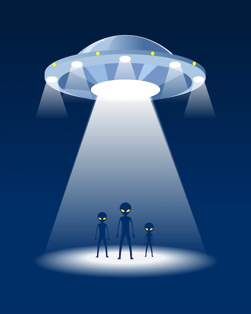 Alien family and ufo. night background. Premium Vector