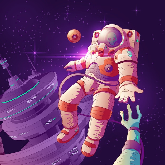 Alien first contact cartoon vector concept with astronaut in futuristic spacesuit reaching hand to e Free Vector