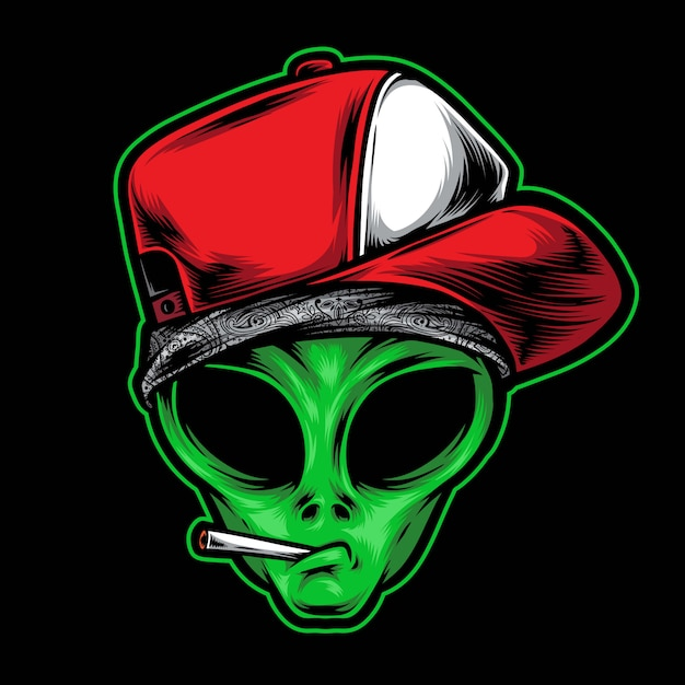 Alien gangster illustration Premium Vector