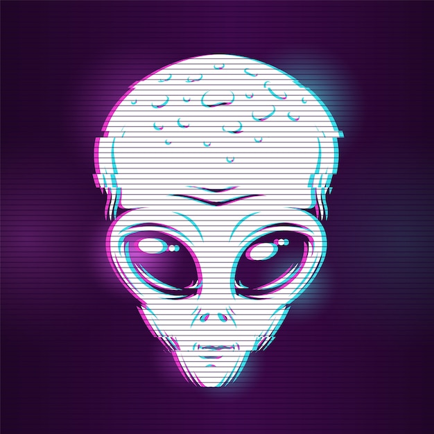 Alien head with glitch effect Free Vector