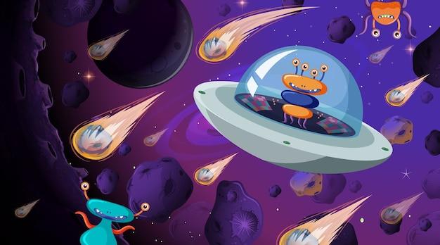 Чужой в космической сцене Бесплатные векторы