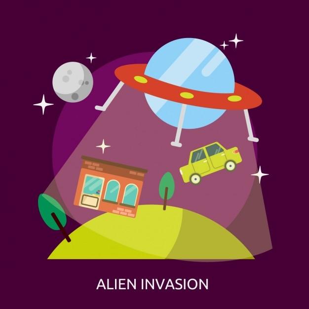 Alien invasion background design