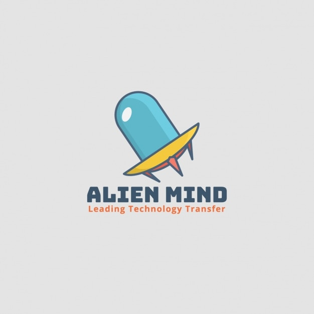 Alien logo, spacecraft on gray\ background