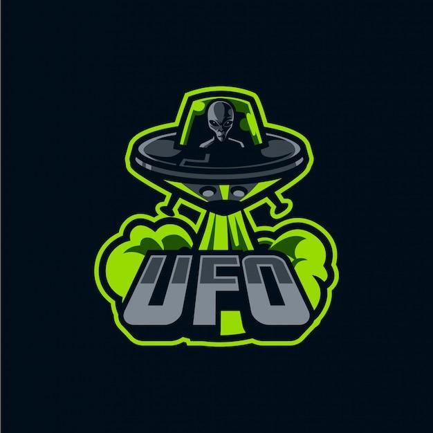 Космический корабль и alien mascot логотип для спорта и esport, изолированных на темном Premium векторы