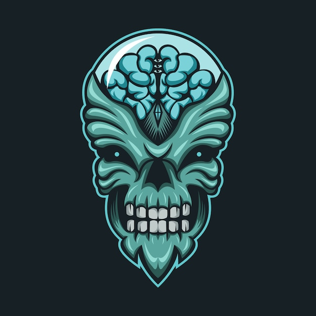 Alien monster brain head vector illustration Premium Vector