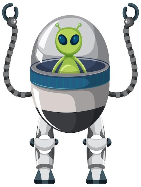 Инопланетянин на роботе на белом Бесплатные векторы