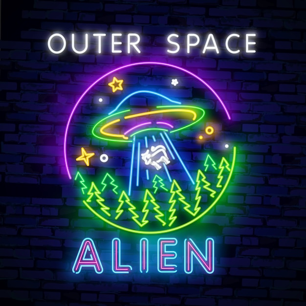 Alien, outer space neon sign Premium Vector