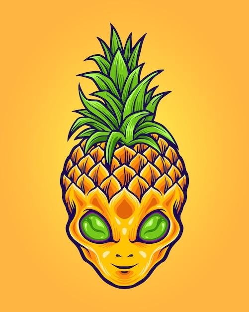Alien ананас талисман логотип лето Premium векторы