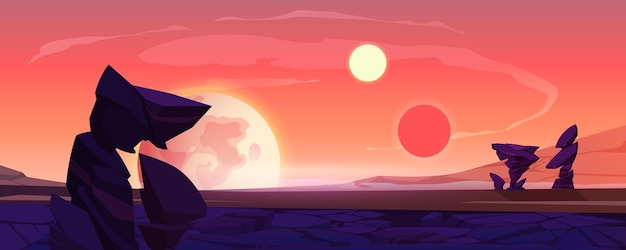 Alien planet landscape, dusk or dawn desert surface with mountains, rocks, satellite and two suns shining on orange sky. space extraterrestrial computer game background, cartoon vector illustration Free Vector