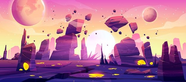 Alien planet landscape for space game background Free Vector