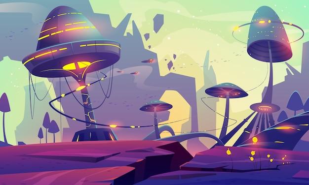 Пейзаж чужой планеты с фантастическими деревьями грибов или зданиями и скалами. Бесплатные векторы