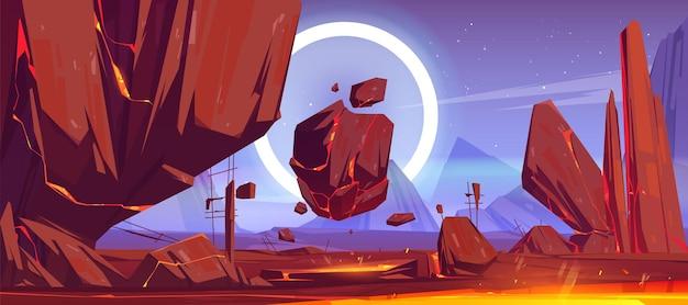 Paesaggio del pianeta alieno con montagne, rocce volanti e lava rossa nelle fessure. Vettore gratuito