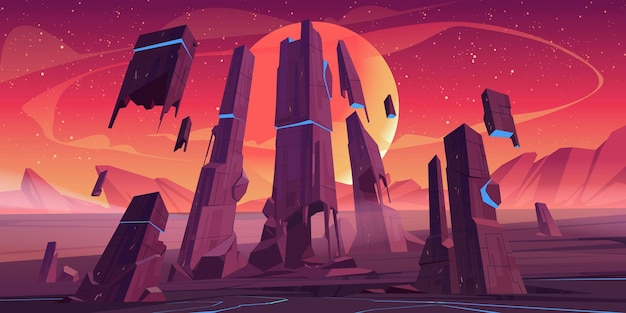 Alien planet landscape with rocks and futuristic building ruins with glowing blue cracks. Free Vector