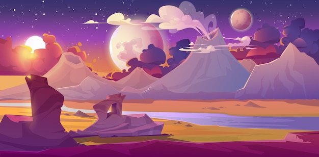 Alien planet landscape with volcano, river, stars and moons in sky. vector fantasy illustration of planet surface with desert, mountains, smoke clouds from craters. futuristic background for gui game Free Vector