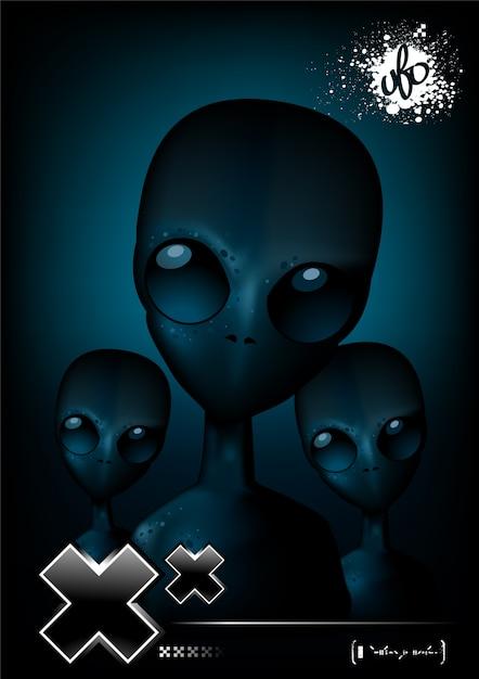 Alien poster template Free Vector