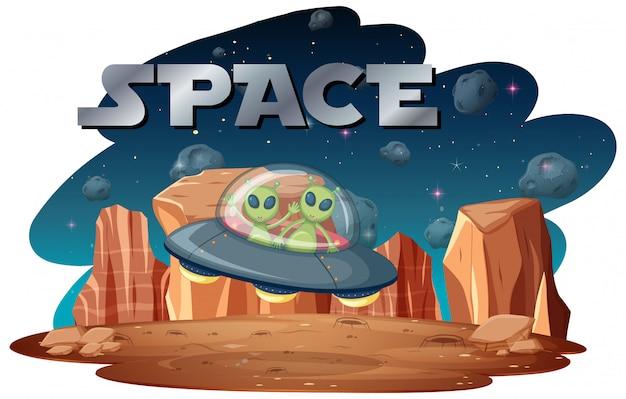 Alieno nella scena spaziale Vettore gratuito