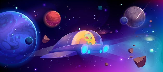 Alien spaceship flying in cosmos between planets Free Vector