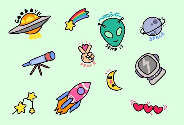 Alien stickers Premium Vector