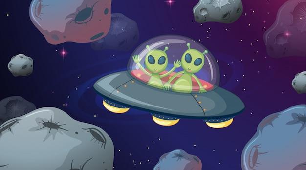 Alien in ufo space scene Free Vector