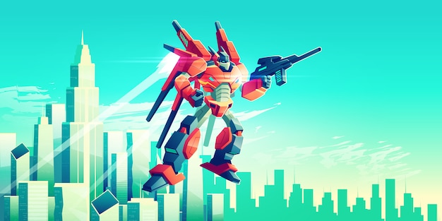 Alien warrior, armed transformer robot flying in sky under modern metropolis skyscrapers Free Vector