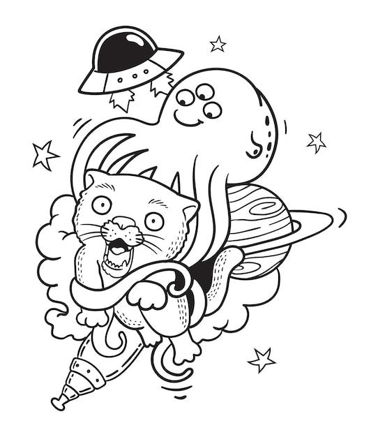 Aliens catch cat  doodle Premium Vector