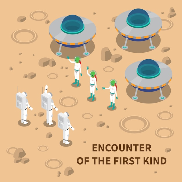 Aliens encounter isometric composition Free Vector