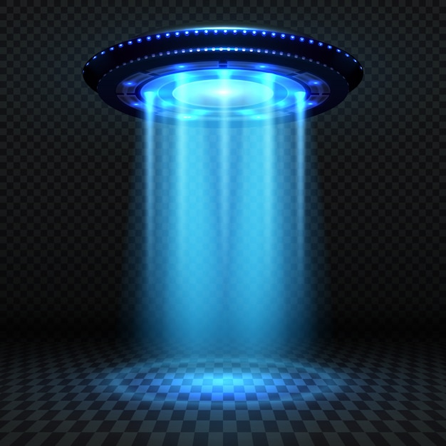 Aliens futuristic spaceship, ufo with blue lights. invasion vector concept. ufo invasion, spaceship and blue ray illustration Premium Vector