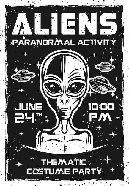 주제별 의상 파티를위한 외계인 초대 포스터 프리미엄 벡터
