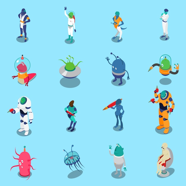 Aliens isometric characters set Free Vector