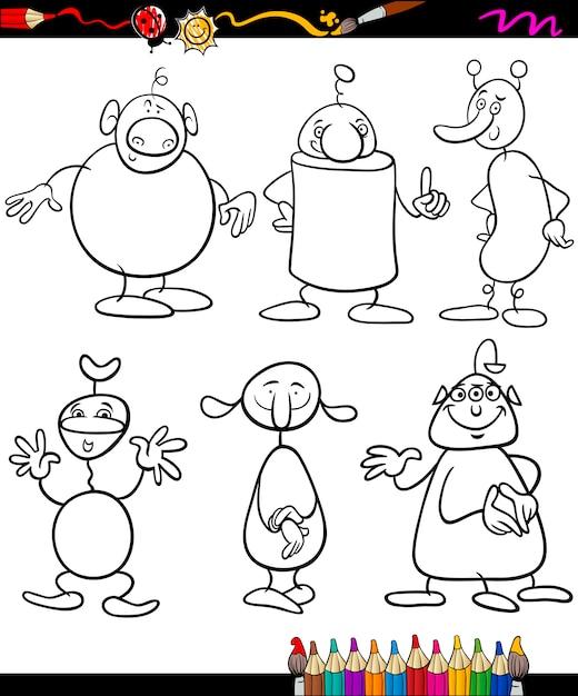 Aliens Set Cartoon Coloring Book Premium Vector