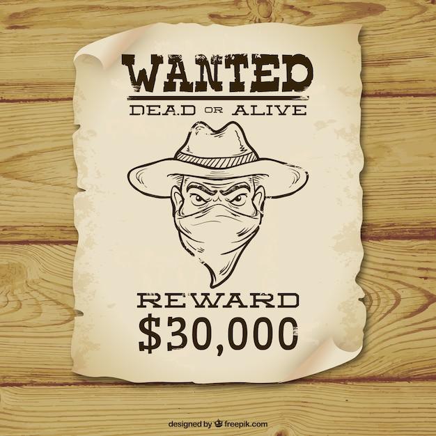 Живой или мертвый плакат с криминальным эскиз Бесплатные векторы