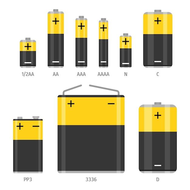 Набор щелочных батарей разных размеров. плоский рисунок, изолированные на белом фоне Premium векторы