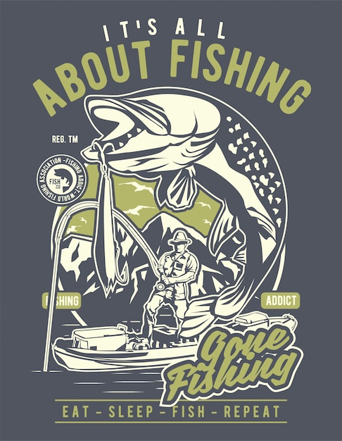 All about fishing Premium Vector