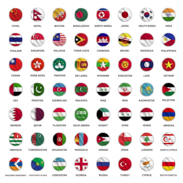 すべてのアジアの国旗サークル振るスタイル Premiumベクター